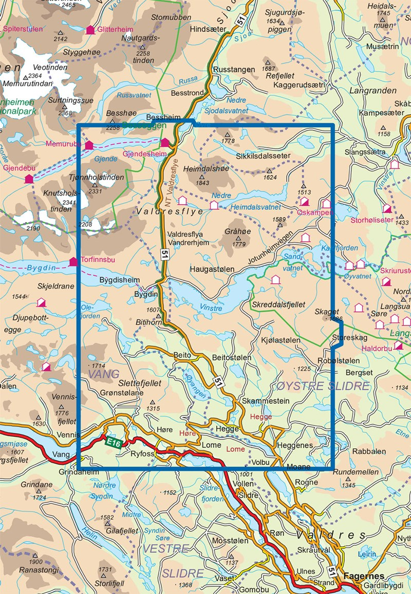 kart over beitostølen Braasport   Beitostølen 1:50 000 kart