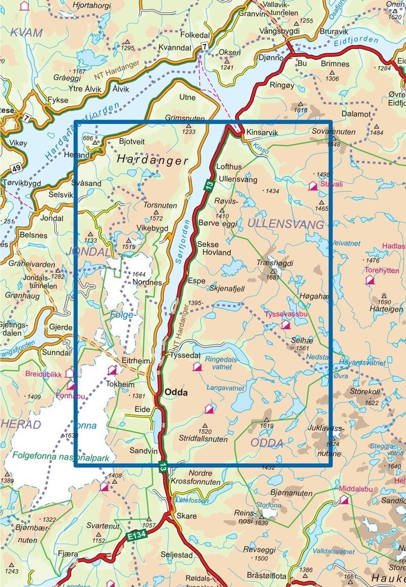 trolltunga kart Braasport   Nordeca Trolltunga, Odda   Ullensvang DNT 1:50 000