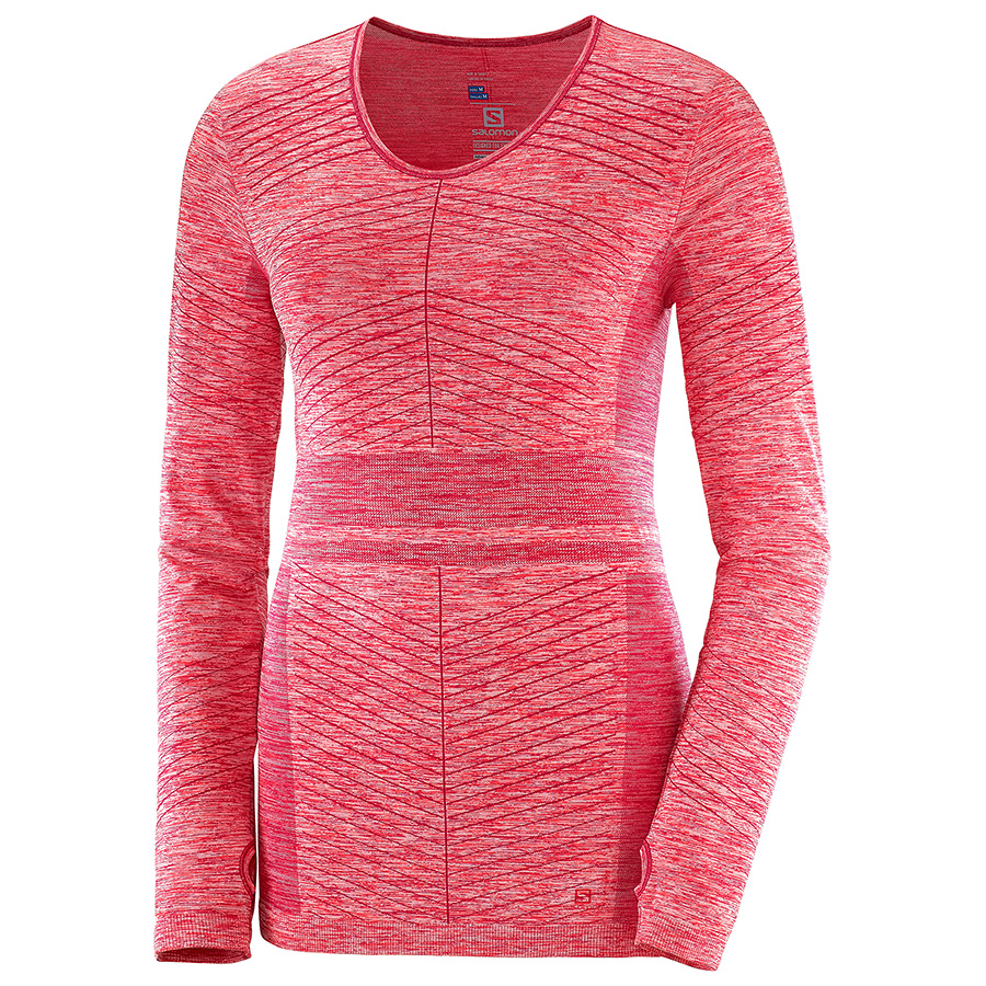 Salomon Elevate Move'on LS Tee løpetrøye dame Cerise/Coral (L40400800) S 2019