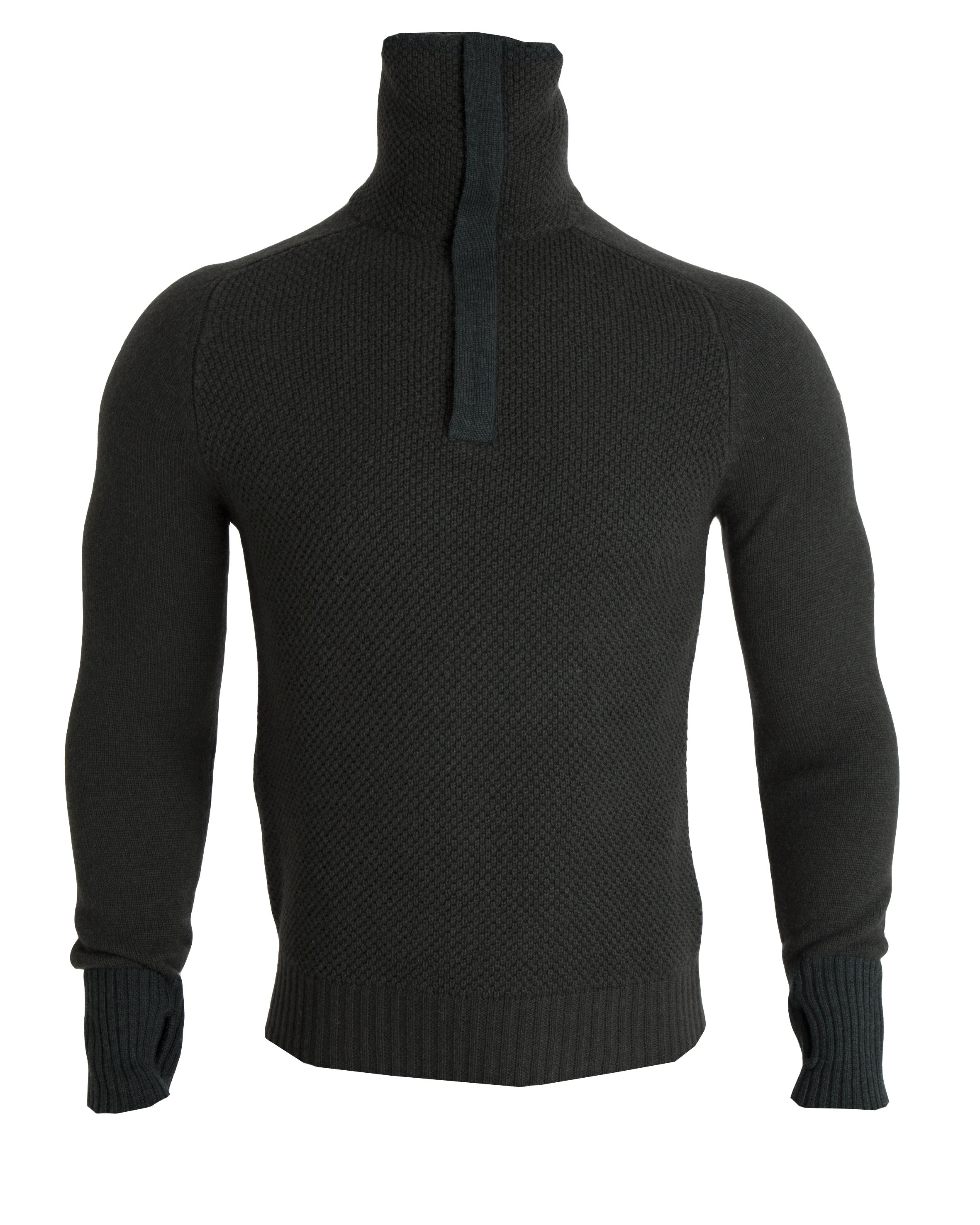 AW18 Tufte Unisex Bambull Blend Half Zip Sweater Deep Forest Melange Front.png